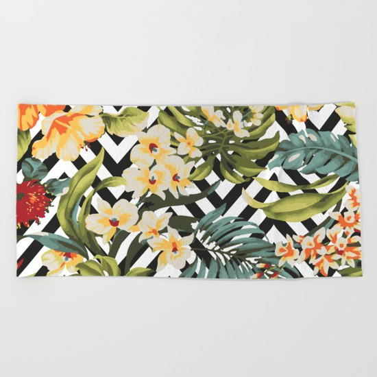 Flowered Chevron Beach Towel