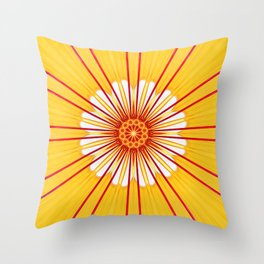 Conceptual abstract yellow red flower pattern sun ray bursts forming an ornate center star design Throw Pillow