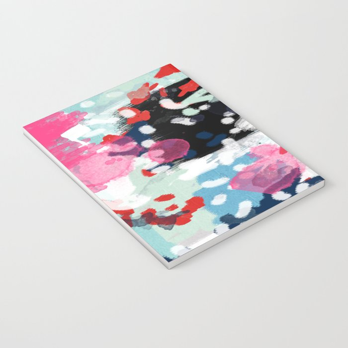 Aubrey - Abstract painting in bright colors pink navy white gold Notebook
