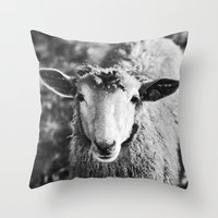 sheep Throw Pillows featuring Sheep by SilverSatellite
