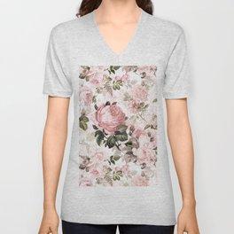 Vintage & Shabby Chic - Sepia Pink Roses Unisex V-Neck