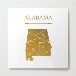 Alabama In Gold Metal Print