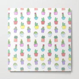 Watercolour Cacti Pattern Metal Print