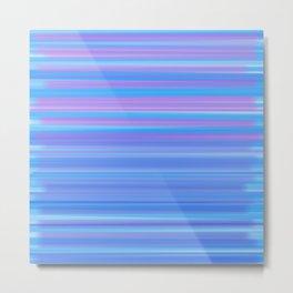 Peaceful Ombré Stripes - Blue Pink & Purple Metal Print