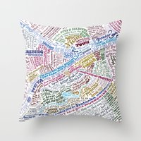 literary Throw Pillows featuring St. Petersburg Literary Map by Ilya Merenzon