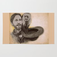 jared leto Area & Throw Rugs featuring Jared Leto and Ripley the monkey by Jenn