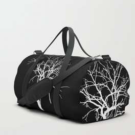 Witchy Tree Silhouette, white on black. Minimal minimalist minimalism Duffle Bag