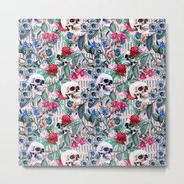 Flowers and Skulls (Pink) Metal Print