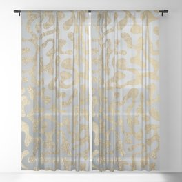 Modern elegant abstract faux gold silver pattern Sheer Curtain