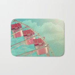 Cotton Candy Dreams, Ferris Wheel Print, Shabby Chic, Vintage Carnival, Nursery Decor Bath Mat