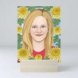 Samantha Bee portrait with chrysanthemums  Mini Art Print