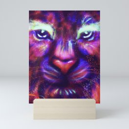 Fantasy lion face made of stars and colorful clouds Mini Art Print