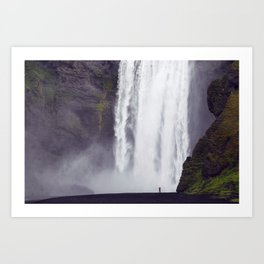 Man Vs. Nature - Skógafoss, Iceland Art Print
