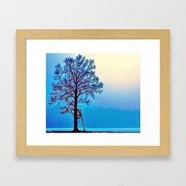 Blue Tree Landscape Airbrush Artwork Framed Art Print