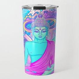 Sitting Buddha among psychedelic Mushrooms Travel Mug