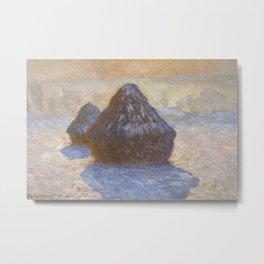 Haystacks, Snow Effect by Claude Monet Metal Print