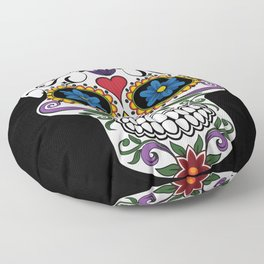 Colorful Sugar Skull Floor Pillow