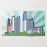 atlanta Area & Throw Rugs featuring Atlanta Midtown skyline by Niels Revers Design