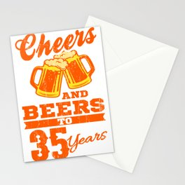 Cheers And Beers To 35th Birthday Gift Idea Stationery Cards