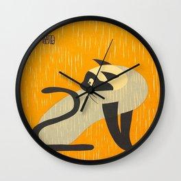 Asai Kiyoshi Japanese Woodblock Siamese Cat Midcounty Modern Art Wall Clock