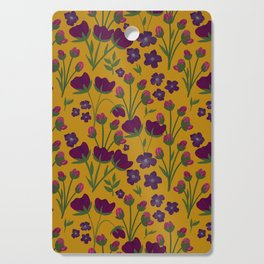 Purple and Gold Floral Seamless Illustration Cutting Board