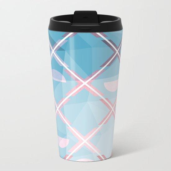 Abstract Triangulated XOX Design Metal Travel Mug