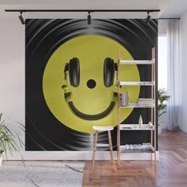 Vinyl headphone smiley Wall Mural