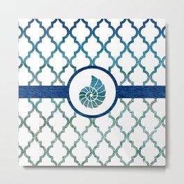 Seashell: Tropical Water Moroccan Pattern Metal Print