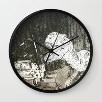 jurassic park Wall Clocks featuring Jurassic by Erika Marie Burke