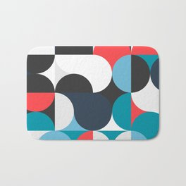 Circles Curves Shapes, Abstract and Geometry, Red, White, blues, black Bath Mat