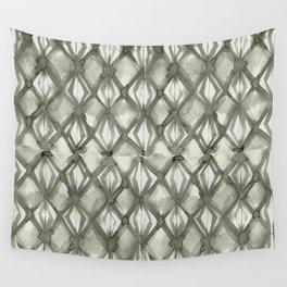 Braided Diamond Simply Green Tea on Lunar Gray Wall Tapestry
