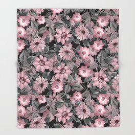 Nostalgic Floral Pattern On Black Throw Blanket