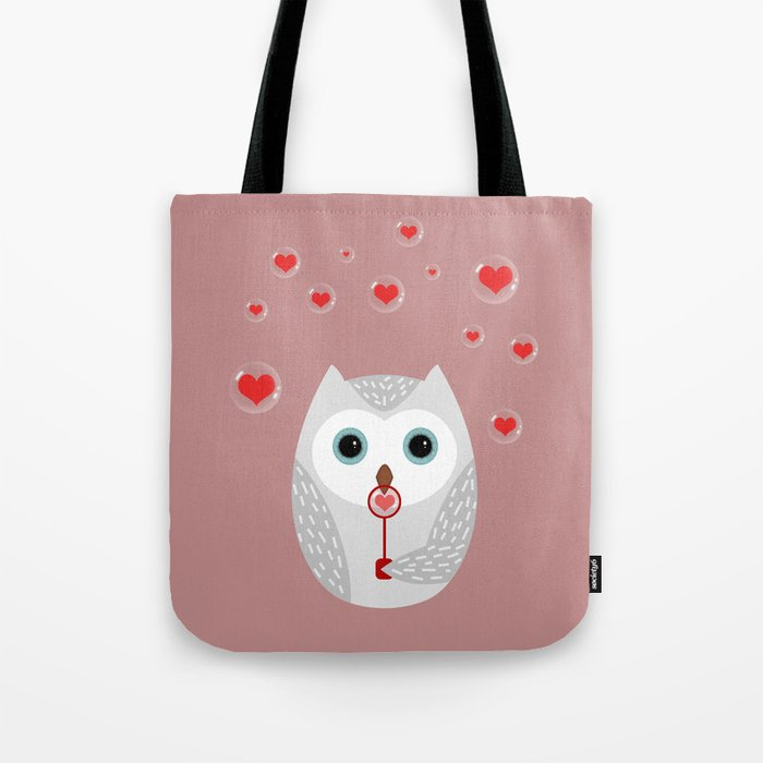 OWL, LOVE & BUBBLES (valentine animals heart) Tote Bag