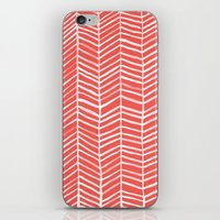 coral iPhone & iPod Skins featuring Coral Herringbone by Cat Coquillette