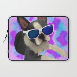 Black Boston Terrier Watercolor Laptop Sleeve
