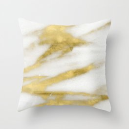 Marble - Gold Marble on White Pattern Throw Pillow