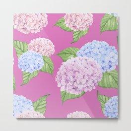 Pink Hydrangeas Metal Print