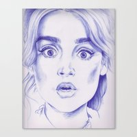 jenna kutcher Canvas Prints featuring jenna coleman by Jill Schell