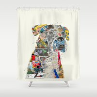mod Shower Curtains featuring the mod boxer by bri.buckley