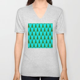 Contemporary Christmas Trees Pattern Unisex V-Neck