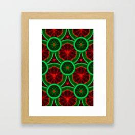 red and greenery kivi pattern Framed Art Print
