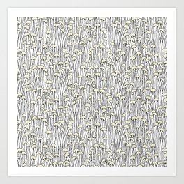 Enokitake Mushrooms (pattern) Art Print