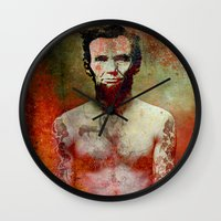 tatoo Wall Clocks featuring Abraham Tatoo by Joe Ganech