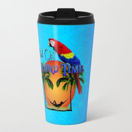 Island Time And Parrot Travel Mug