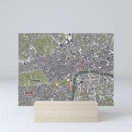 London city map engraving Mini Art Print
