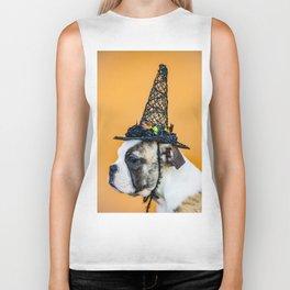 Beautiful Profile of a Bulldog Wearing a Witch Hat for Halloween Biker Tank