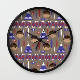 Seamless kids cute American indian native retro background pattern Wall Clock