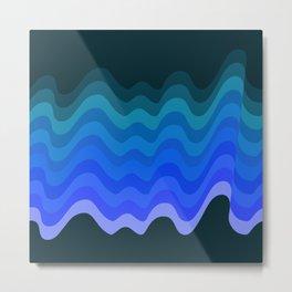Blue Wave Retro Ripple Metal Print