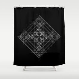 Black sacred geometry design with occult and wicca style Shower Curtain
