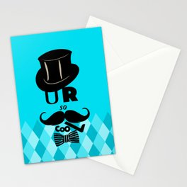 U R so cooL - Funny Blue Graphic Design Stationery Cards